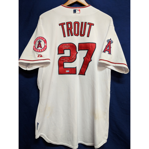 "Photo of Mike Trout Game-Used & Autographed Inscribed ""Grand Slam vs. White Sox 6/7/14 AL MVP 14"" Home Jersey"