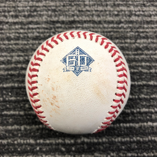 Photo of 2018 Game Used Baseball - SF vs COL - September 15, 2018 - T-1: Madison Bumgarner to DJ LeMahieu - Double to CF. Also Nolan Arenado Line Out and Pitch in the Dirt to Trevor Story.