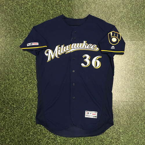 Photo of Jake Faria 2019 Game-Used Navy Ball & Glove Jersey