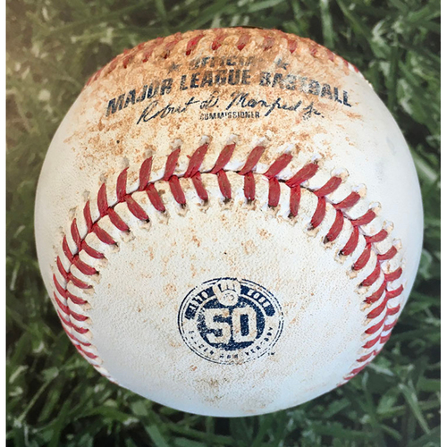 Photo of Game-Used Baseball PIT@MIL 08/28/20 - Corbin Burnes - Josh Bell: Single