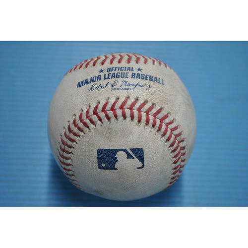 Photo of Game-Used Baseball - 2020 ALDS - New York Yankees vs. Tampa Bay Rays - Game 2 - Pitcher - Tyler Glasnow, Batter - DJ LeMahieu (Lineout to Right Field) - Top 1
