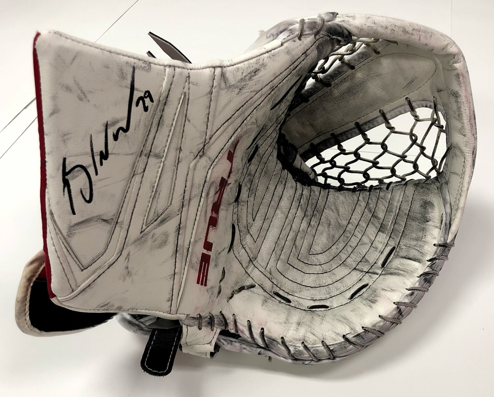 #29 Mackenzie Blackwood Game Used Autographed Catch Glove - New Jersey Devils