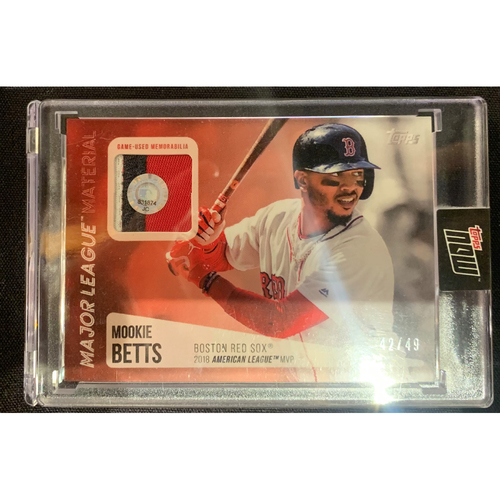 Photo of Mookie Betts Topps Now Major League Material Game Used Jersey Card #42/49