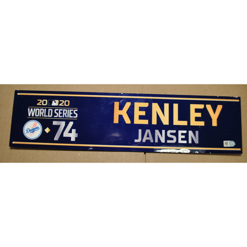 Photo of Game-Used Locker Name Plate - 2020 World Series - Los Angeles Dodgers vs. Tampa Bay Rays - Used Entire Series - Kenley Jansen (Los Angeles Dodgers)