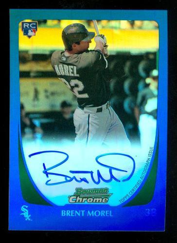 Photo of 2011 Bowman Chrome Rookie Autographs Blue Refractors #196 Brent Morel