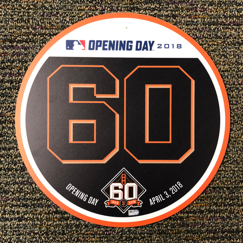 Photo of San Francisco Giants - 2018 Home Opening Day Ceremony Disc - #60 Hunter Strickland