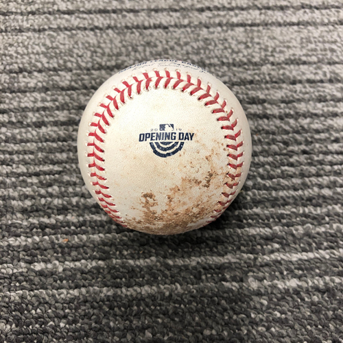 2019 Game Used Opening Day Baseball Used on 4/5 vs Tampa Bay Rays - T-5: Dereck Rodriguez Strikeout of Austin Meadows