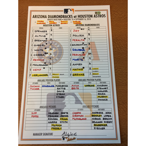 Photo of 2018 Game-Used Lineup Card - 9/16/18 vs ARI
