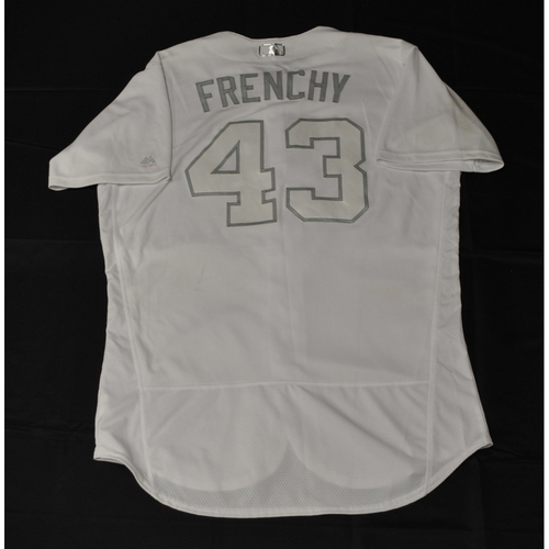 "Photo of Michael ""FRENCHY"" Brosseau Tampa Bay Rays Game-Used 2019 Players' Weekend Jersey"