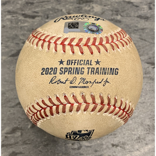 Photo of 2020 Game Used Spring Training Baseball used on 2/22 vs Los Angeles Dodgers - T-8: Tyler Cyr to Rocky Gale - 2 RBI Double to RF (Luke Raley & Cristian Santana Score)