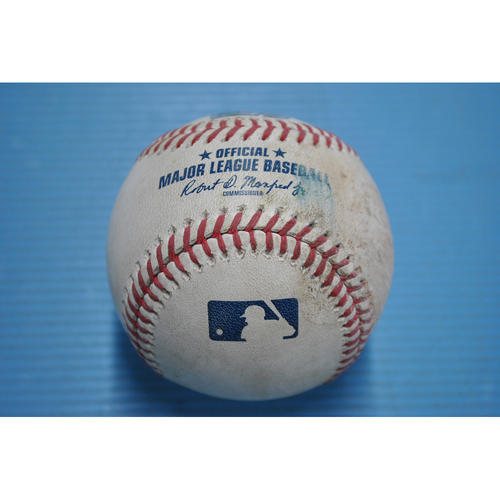 Photo of Game-Used Baseball - 2020 ALDS - New York Yankees vs. Tampa Bay Rays - Game 2 - Pitcher - J.A. Happ, Batter - Willy Adames (Reaches on Error by Happ) - Bot 3