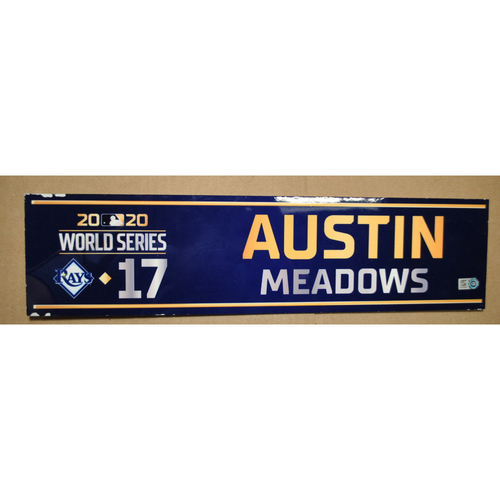 Photo of Game-Used Locker Name Plate - 2020 World Series - Los Angeles Dodgers vs. Tampa Bay Rays - Used Entire Series - Austin Meadows (Tampa Bay Rays)