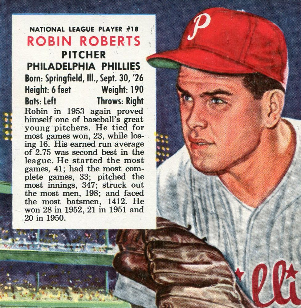 1954 Red Man #NL18 Robin Roberts