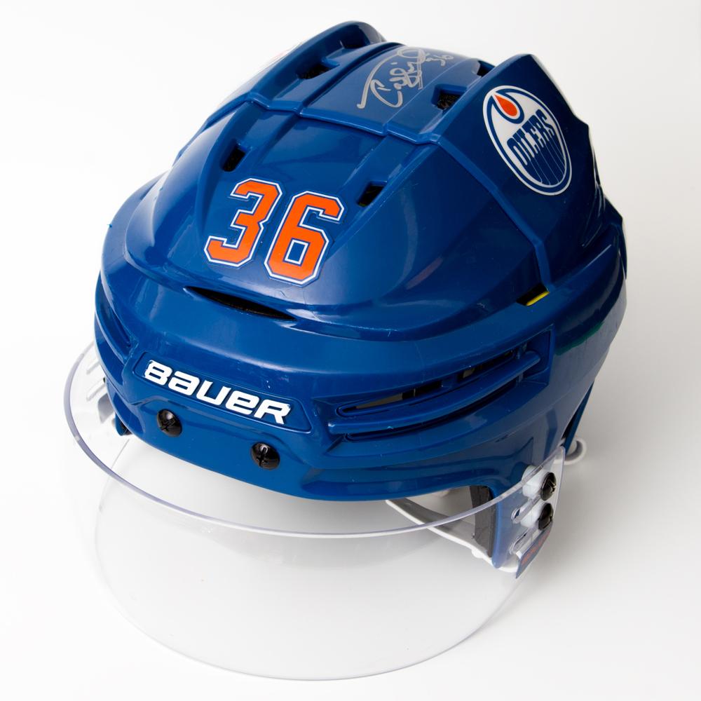 Drake Caggiula #36 - Autographed 2016-17 Rookie Season Edmonton Oilers Game-Worn Royal Blue RE-AKT CCM Helmet (1st Half Of Season)