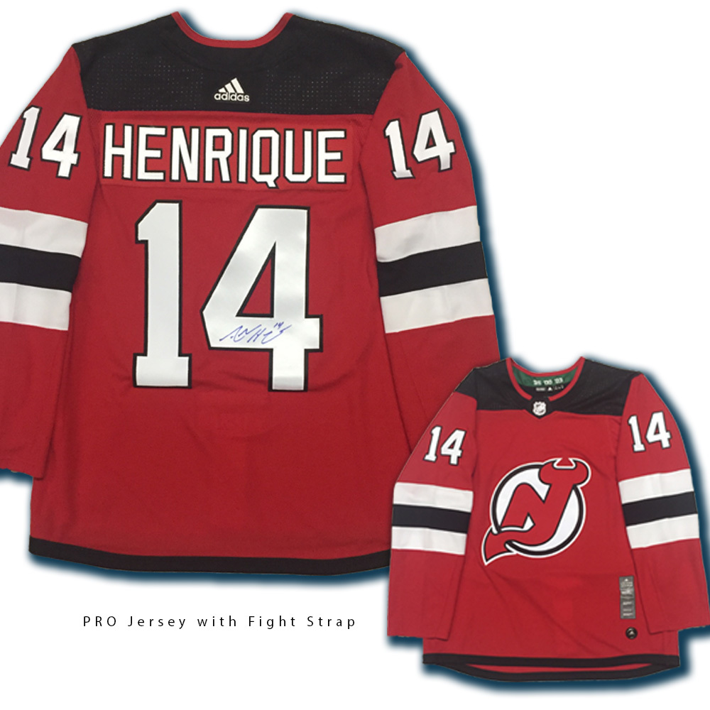 ADAM HENRIQUE Signed New Jersey Devils Red Adidas Jersey