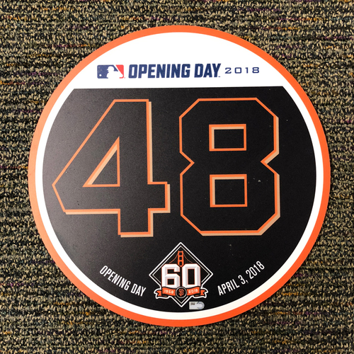 Photo of San Francisco Giants - 2018 Home Opening Day Ceremony Disc - #48 Pablo Sandoval