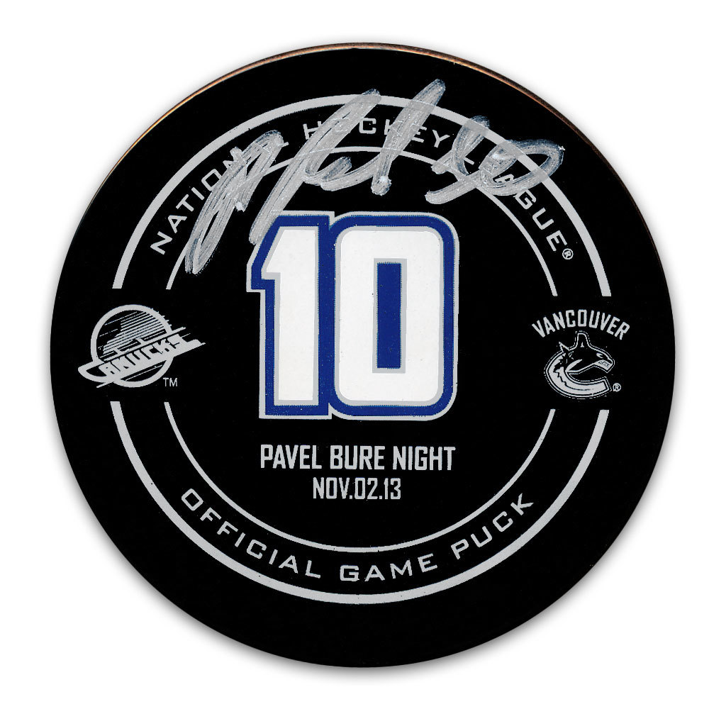 Pavel Bure Vancouver Canucks Retirement Night Autographed Official Game Puck