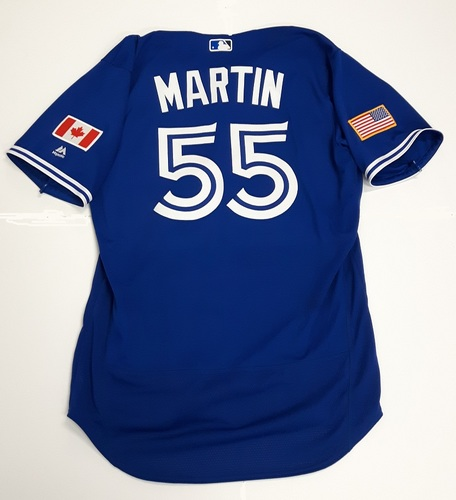 Photo of Authenticated Game Used 2018 Independence Day Jersey (July 4, 2018) - #55 Russell Martin: 3-for-3 with 1 Walk Recorded 500th Career Hit as American League Player. Size 46.