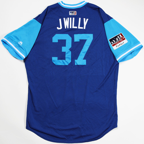 """Photo of Justin """"J Willy"""" Wilson Chicago Cubs Game-Used 2018 Players' Weekend Jersey"""