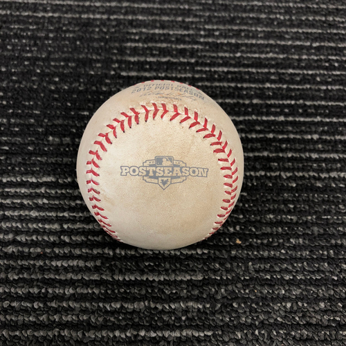Photo of 2012 Postseason Game Used Baseball - NLDS Game 1 vs. Cincinnati Reds - Mat Latos to Pablo Sandoval - Pitch in the Dirt