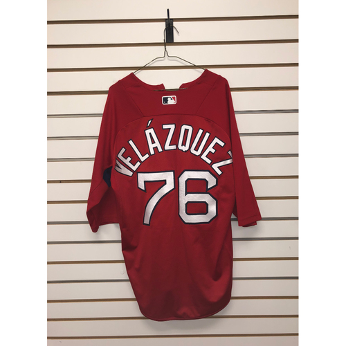 Photo of Hector Velazquez Team-Issued Home Batting Practice Jersey