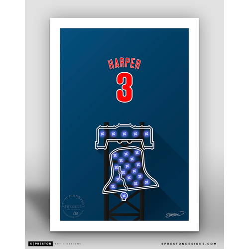 Photo of Minimalist Citizens Bank Park Bryce Harper Player Series Art Print by S. Preston - Limited Edition