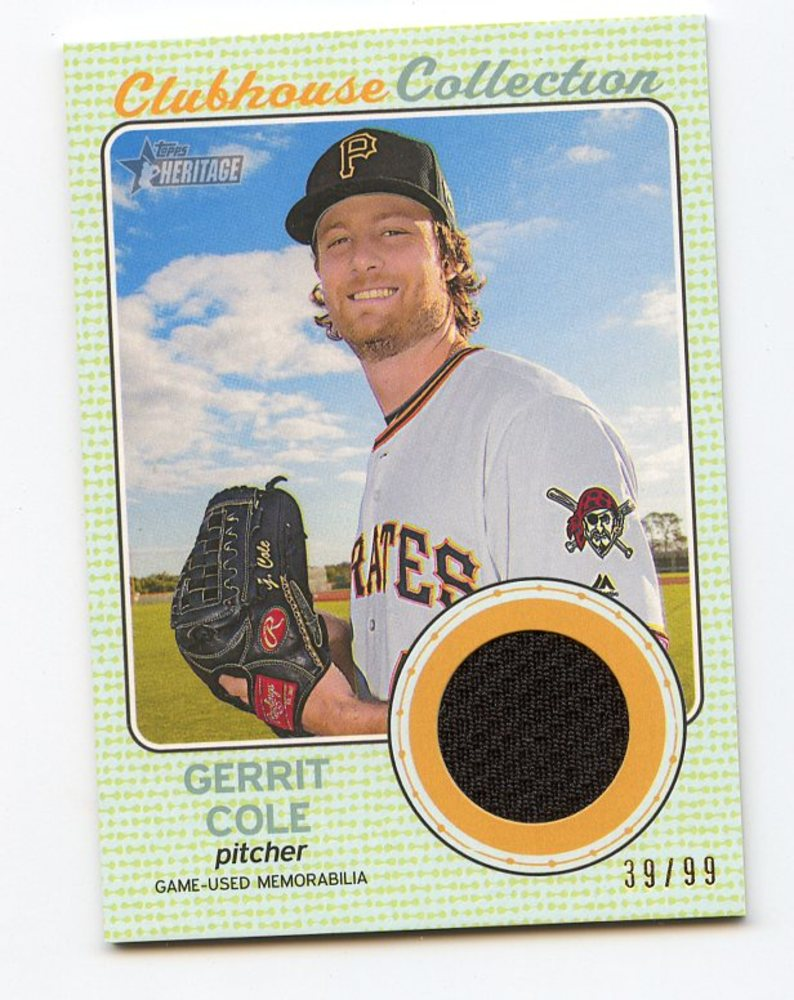 2017 Topps Heritage Clubhouse Collection Relics Gold #CCRGC Gerrit Cole 39/99
