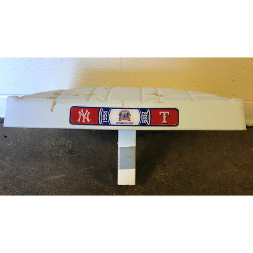 Photo of Game-Used Base - 9/29/19 NYY @ TEX - First Base Used During The 5th Inning Of The Final Game At Globe Life Park