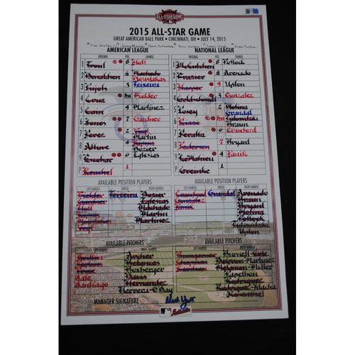 Photo of 2015 All Star Game (07/14/2015) - Game-Used Lineup Card - American League Dugout