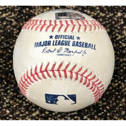 Photo of 8/29/20 Game-Used Baseball: Luke Weaver vs. Mike Yastrzemski (Doubled, Scored Mauricio Dubon)
