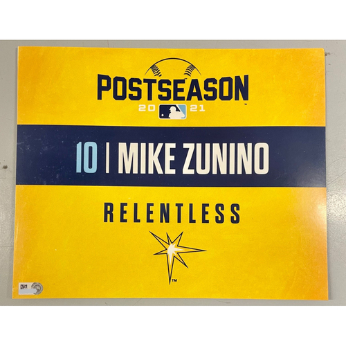 Photo of Game Used ALDS Locker Tag: Mike Zunino - Game 1 & 2 - October 7-8, 2021 v BOS
