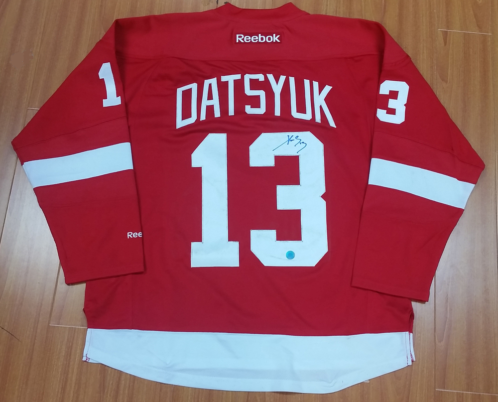 0906649335f Pavel Datsyuk Detroit Red Wings Autographed Reebok Premier Hockey Jersey   Back Jersey Numbers Have Stains