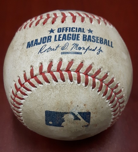 Photo of Authenticated Game Used Baseball (April 13, 2017 vs BAL) - Welington Castillo strikes out swinging.  Slider by Francisco Liriano (Top 7)
