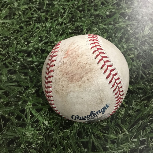 Photo of Game-Used Baseball MIN@MIL  07/03/18 - Josh Hader - Jorge Polanco / Eddie Rosario: Pop Out / Fly Out