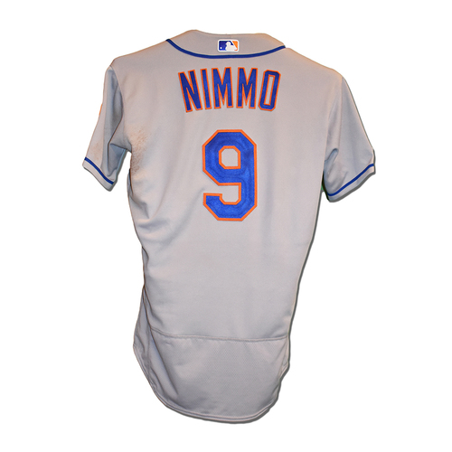 Photo of Brandon Nimmo #9 - Game-Used Road Grey Jersey - 1-3, 2 BB's, RBI - Mets vs. Nationals - 9/2/19