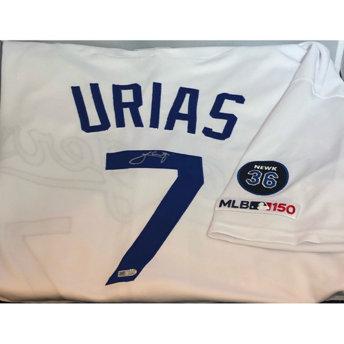 Photo of Julio Urias Authentic Autographed Los Angeles Dodgers Jersey - Newcombe Patch