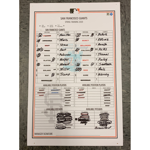 Photo of 2020 Game Used Spring Training Line-Up Card - San Francisco Giants vs Los Angeles Dodgers  on 2/22 - Joey Bart and Mauricio Dubon Hit Home Runs! Max Muncy, Enrique Hernandez & Chris Taylor Hit Home Runs for the Dodgers