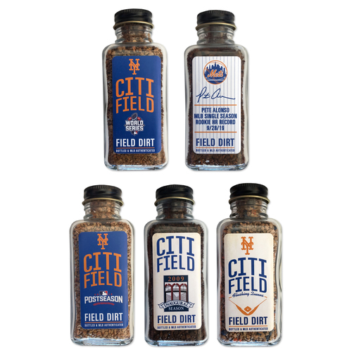Photo of Game Used Citi Field Dirt Jar Set - Includes 5 Dirt Jars