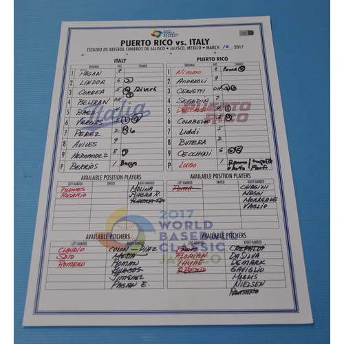 Photo of 2017 Game-Used World Baseball Classic Line-Up Card - Puerto Rico vs Italy - Jalisco, Mexico - 03/12/2017 - Puerto Rico Dugout