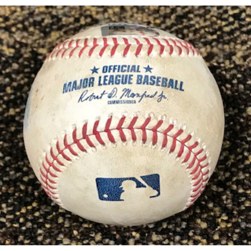 Photo of 8/18/20 Game-Used Baseball: Daniel Mengden vs. Stephen Vogt (Fly Out), Tim Locastro (Doubled, Scored Jon Jay), David Peralta (Fly Out) and Christian Walker (Ball, Foul)