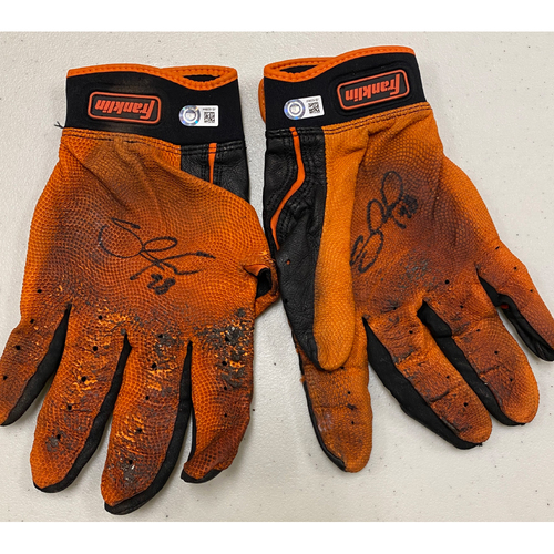 Photo of 2020 Cyber Monday Sale - #48 Pablo Sandoval Team Issued Autographed Black & Orange Franklin Batting Gloves