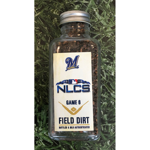 Photo of Game-Used Bottled Dirt - 2018 NLCS Game 6 LAD@MIL - 10/19/18