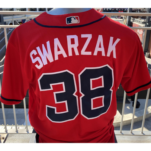 Photo of Anthony Swarzak Game-Used Los Bravos Red Jersey