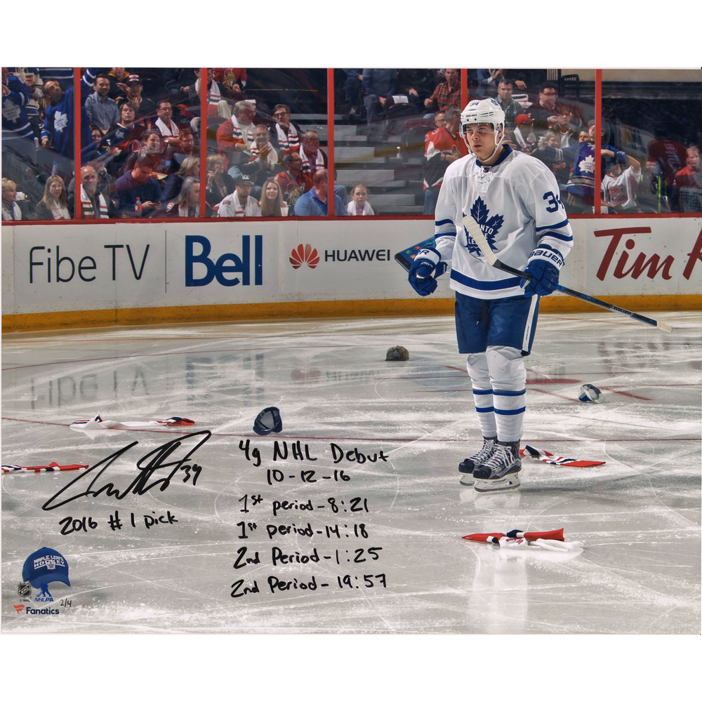 Auston Matthews Toronto Maple Leafs Autographed NHL Debut Hat Trick Photograph with Multiple Inscriptions - LE #4 of 4