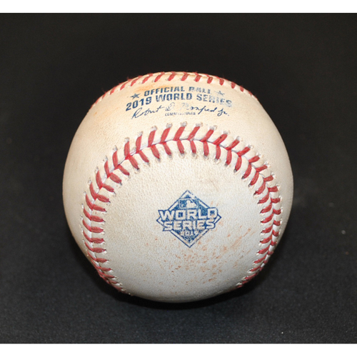 Photo of Game-Used Baseball - 2019 World Series Game 2 - Washington Nationals vs. Houston Astros - Batter: Victor Robles, Pitcher: Josh James, Strikeout Swinging, Top 8
