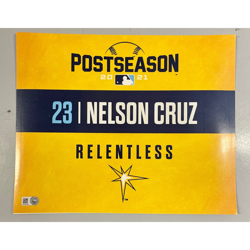 Photo of Game Used ALDS Locker Tag: Nelson Cruz - Game 1 & 2 - October 7-8, 2021 v BOS