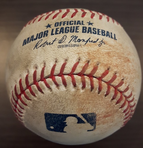 Photo of Authenticated Game Used Baseball - Dominic Leone Strikeout on August 29, 2017 (Top 7 vs Xander Bogaerts)
