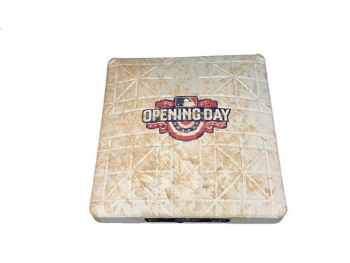 Photo of 2017 Opening Day Game-Used Base from Pirates vs. Braves on 4/7/17