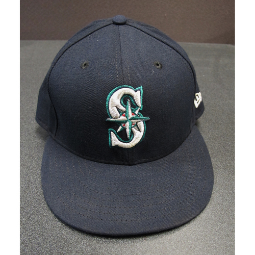 Photo of Kyle Seager Team-Issued Navy Cap 2017. Cap Size - 7 3-8