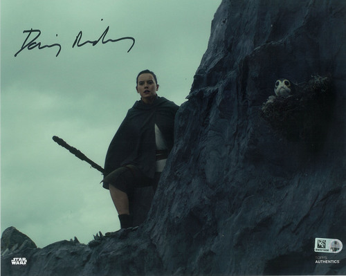 Daisy Ridley as Rey 8x10 Autographed in Black Ink Photo